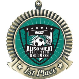First Place Custom Soccer Medal - Medal with Custom Soccer Club Insert